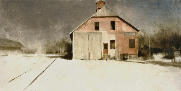 Charlie Hunter, Milford Freight House, Oil on Muslin Mounted on Aluminum, 16x32, 4,500