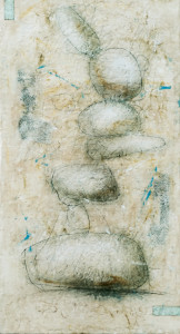 Jessie Pollock_Like Clouds, Stones Too Are Amorphous_60x30_Encaustic, Copper on Panel
