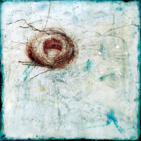 Jessie Pollock_Nest 3_Encaustic on Panel_12x12